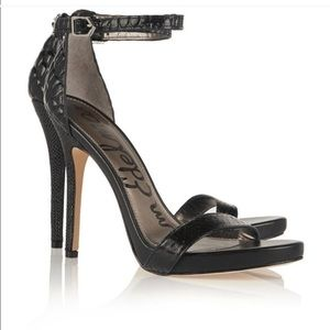 Sam Edelman Eleanor Black Snake Heels Size 5